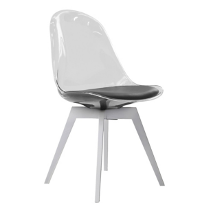 FLY-chaise noire pieds bouleau massif blanc