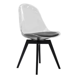FLY-chaise transparente assise noire pieds bouleau massif noir