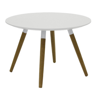 FLY-Table basse blanche pieds chene naturel et acier laque COLORIS blanc