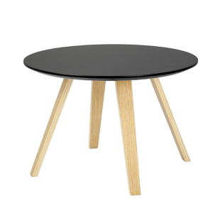 FLY-Table basse noire pieds en multiplis de hetre plaque chene huile naturel.