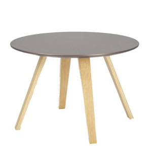 FLY-Table basse bronze pieds en multiplis de hetre plaque chene huile naturel.