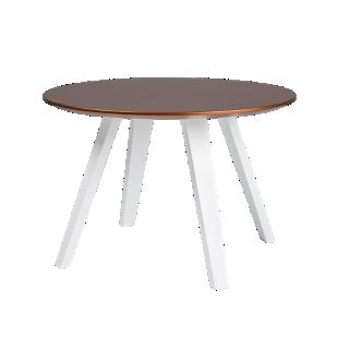 FLY-Table cuivre pieds multiplis de hetre laque blanc