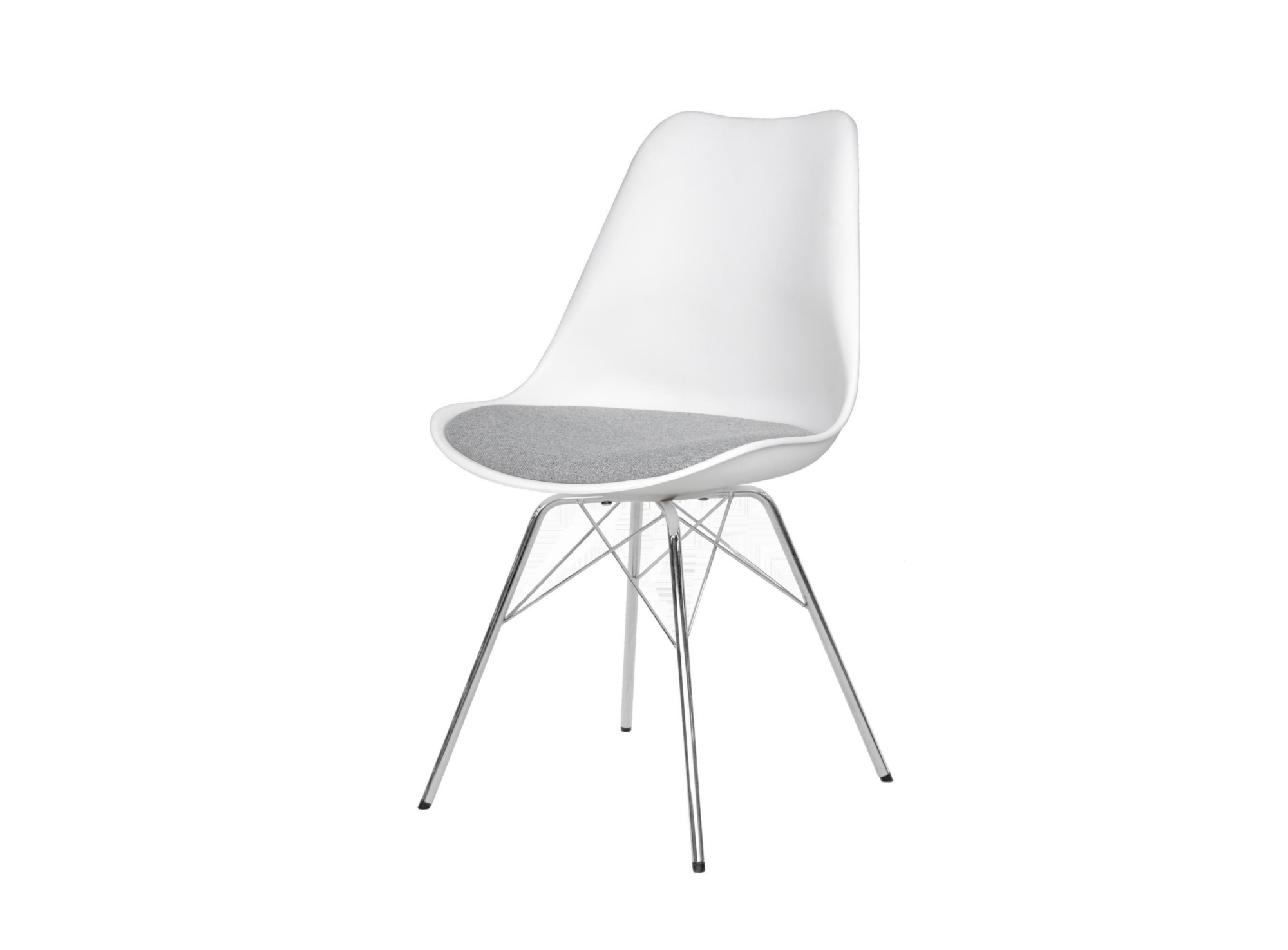 Chaise blanche assise grise pieds acier chrome   Fly