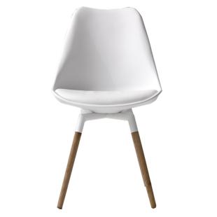 FLY-Chaise blanche pieds chene naturel et acier laque blanc