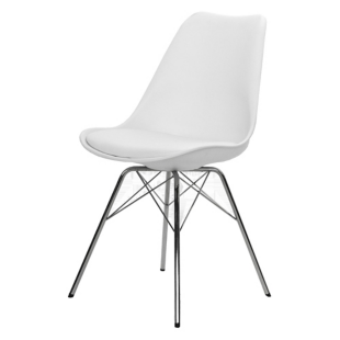FLY-CHAISE BLANCHE PIEDS ACIER CHROME