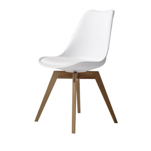 FLY-Chaise blanche pieds chene naturel