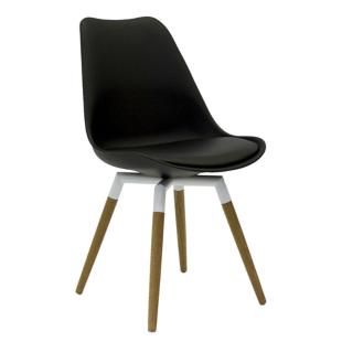 FLY-Chaise noire pieds chene naturel et acier laque blanc