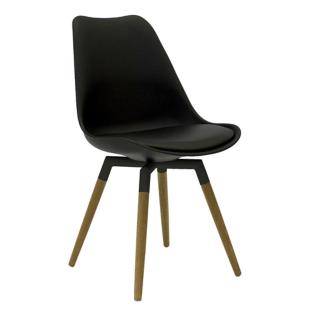 FLY-Chaise noire pieds chene naturel et acier laque noir