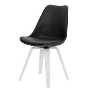FLY-Chaise noire pieds multiplis de hetre laque blanc