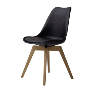 FLY-Chaise noire pieds chene huile