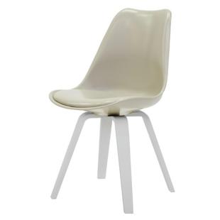 FLY-Chaise beige pieds multiplis de hetre laque blanc