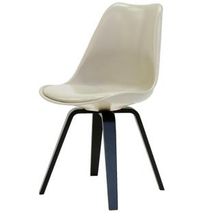 FLY-Chaise beige pieds multiplis de hetre laque noir