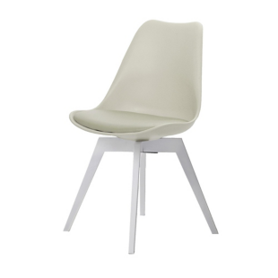 FLY-Chaise beige pieds blanc