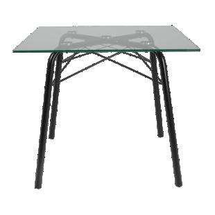 FLY-Table carée plateau verre / pieds noirs