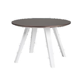 FLY-Table bronze pieds multiplis de hetre laque blanc