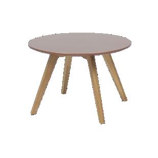 FLY-Table basse cuivre pieds multiplis de hetre plaque chene huile naturel.