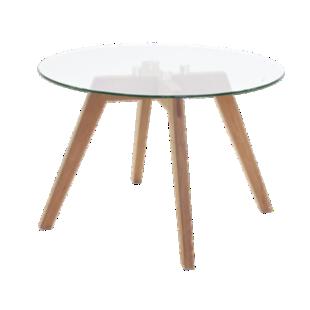 FLY-Table basse verre pieds multiplis de hetre plaque chene huile naturel.