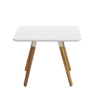FLY-Table basse blanche pieds en chene massif et acier laque blanc