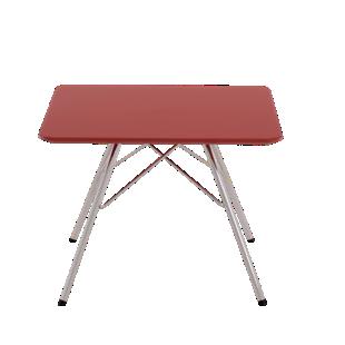 FLY-Table basse rouge pieds en acier chrome