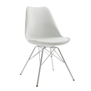 FLY-Chaise blanche pieds acier chromé