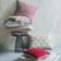 Coussin revetu 100% coton garni 100% polyester coloris beige motifs n ...
