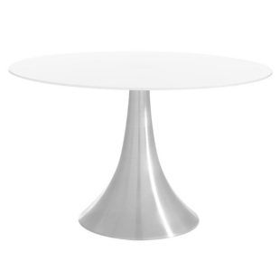 FLY-Table ronde blanc/aluminium