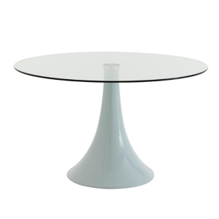 FLY-Table ronde verre/blanc
